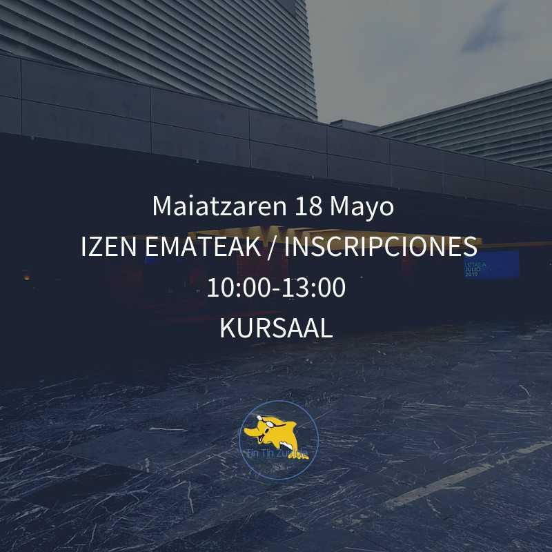¡Atención! Inscripciones presenciales en  los bajos del Kursaal, el 18 de mayo, de 10.00 a 13.00, te esperamos - Konporta